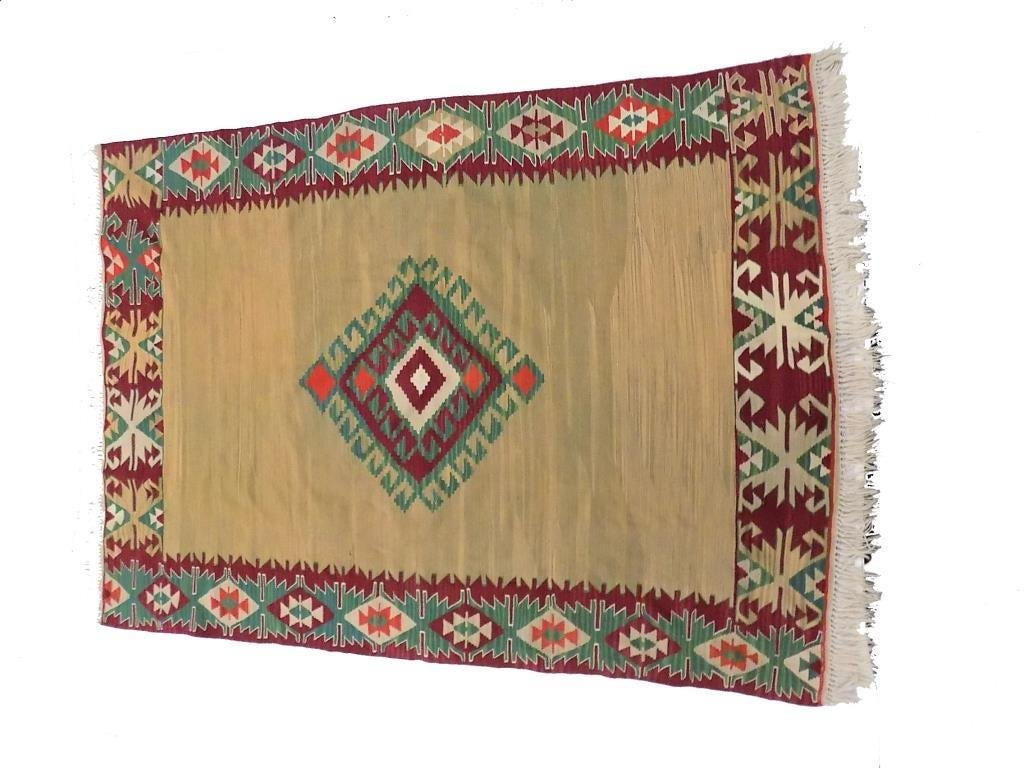 SEMI ANTIQUE CAUCASIAN KILIM ROOM SIZE RUG