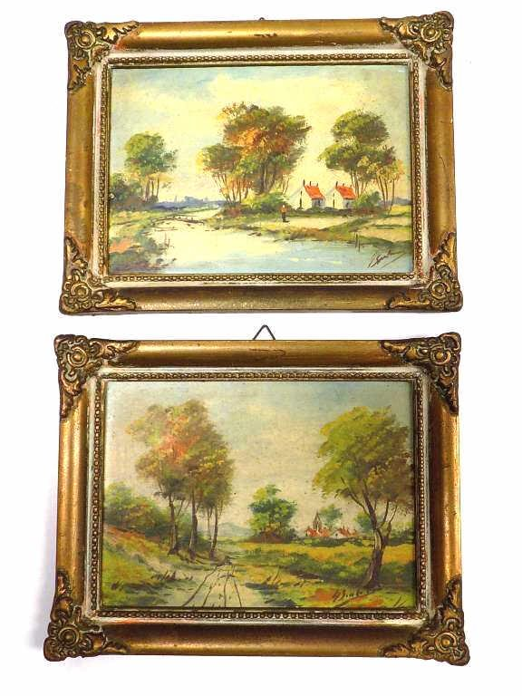 PAIR SMALL LANDSCAPE PAINTINGS SIGNED ILLEGIBLY