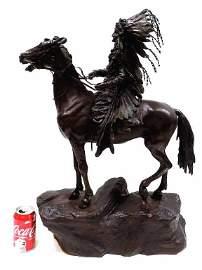 CARL KAUBA - INDIAN CHIEF ON HORSE BRONZE STATUE