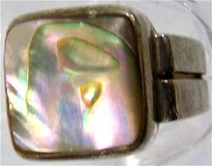 CHUNKY STERLING SILVER ABALONE SIGNED RING