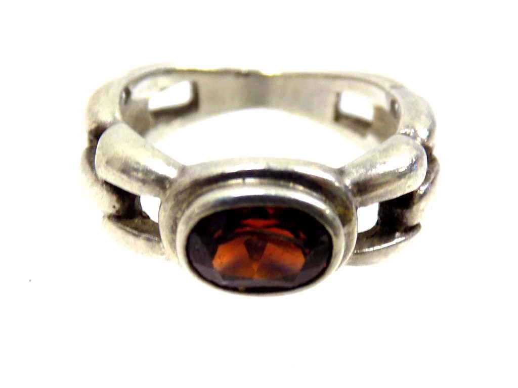 CHUNKY STERLING SILVER RUBY LINK RING