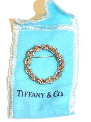 TIFFANY 18K YELLOW GOLD & STERLING WREATH BROOCH
