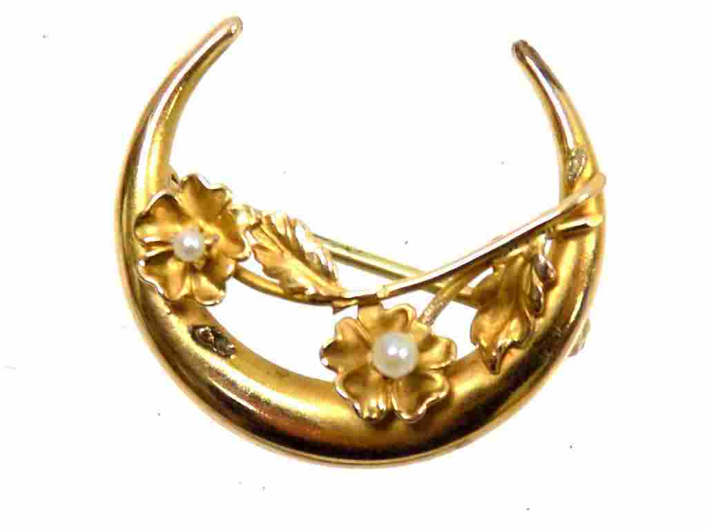 14K YELLOW GOLD BROOCH WITH PEARLS