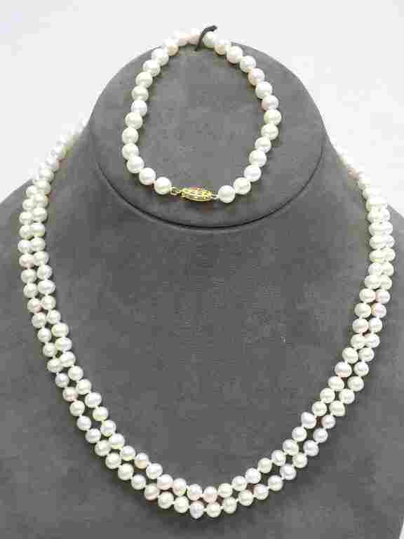 14K YELLOW GOLD CLASP PEARL NECKLACE & BRACELET