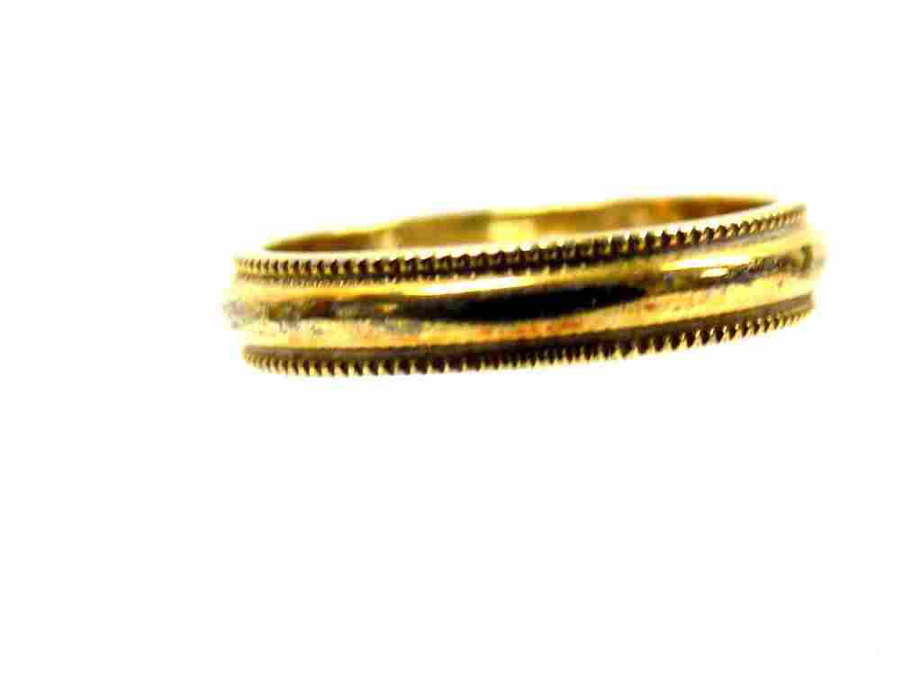 10K YELLOW GOLD BEADED BAND RING