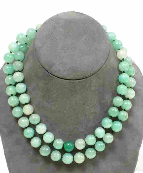 IMPERIAL CHINESE JADEITE 68 BEAD DOUBLE NECKLACE