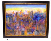 AVRI OHANA - ABSTRACT CITY SCAPE PAINTING