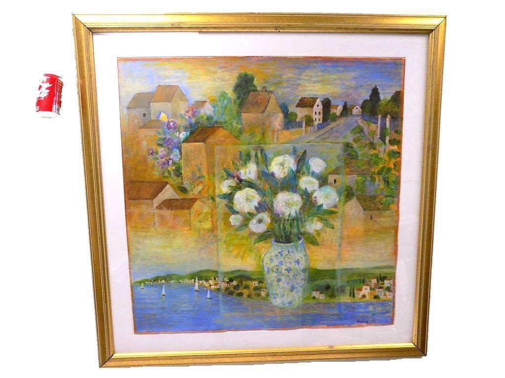 AVRI OHANA - A VASE OF FLOWERS SURREALIST PAINTING
