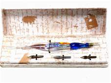 MILLEFIORI ART GLASS FOUNTAIN PEN SET W/ NIBS