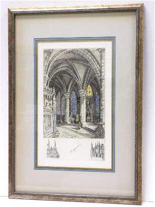 CH MAURICE - VIBRANT CATHEDRAL SIGNED ETCHING