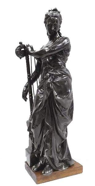 VICTORIAN GODDESS WITH HARP BRONZED STATUE