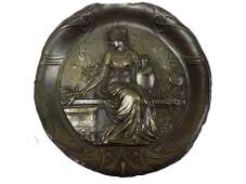 CLASSICAL MAIDEN BRONZED GILT CHARGER
