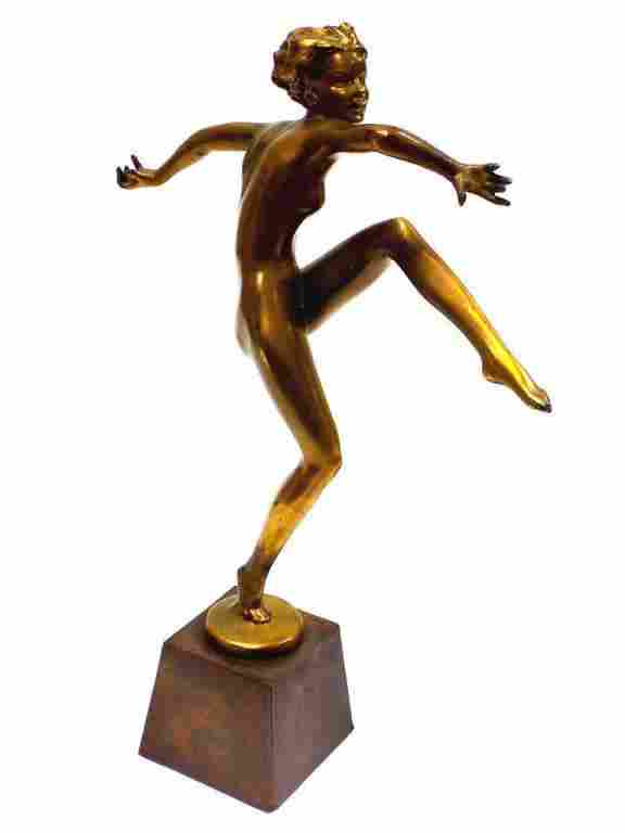 MANNER OF LORENZL - ART DECO NUDE LADY GOLDEN BRONZE