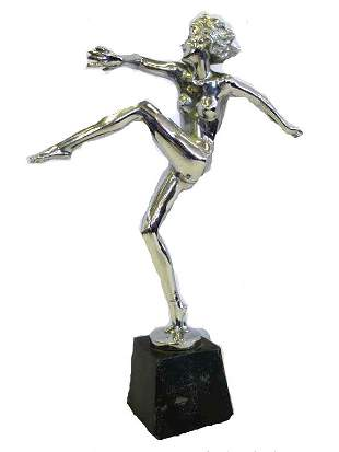 MANNER OF LORENZL - ART DECO NUDE LADY SILVER BRONZE