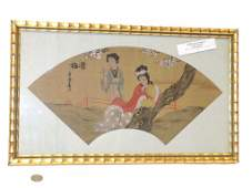 CHINESE MAIDENS SILK FAN WATERCOLOR PAINTING