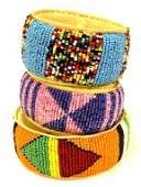 GROUP OF 3 ZULU MADE AFRICAN BANGLE BRACELETS
