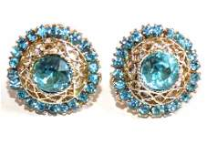 VINTAGE SIMULATED BLUE TOPAZ COSTUME EARRINGS