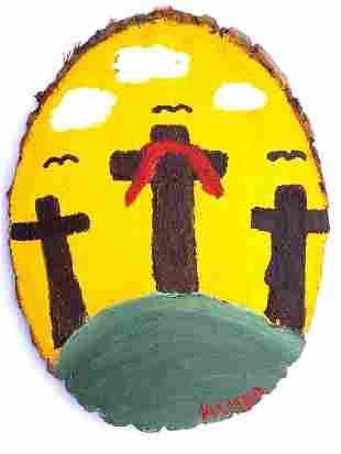 ASHER VARNADOE - RELIGIOUS CROSS FOLK ART PAINTING