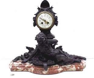 GRAND VICTORIAN BRONZED MAIDEN FRENCH MANTEL CLOCK