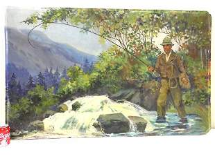 HUGE FLY FISHERMAN ILLUSTRATION ART PAINTING