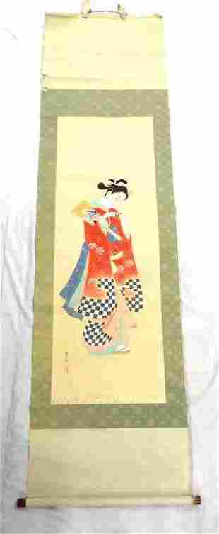 CHINESE MAIDEN WATERCOLOR SCROLL SIGNED