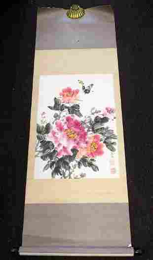 CHINESE BUTTERFLY BLOSSOMS WATERCOLOR SCROLL