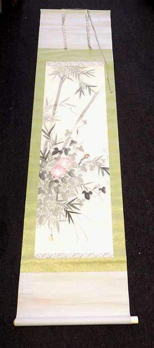 CHINESE SPARROW SIGNED WATERCOLOR SCROLL