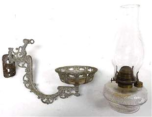 VICTORIAN CAST IRON LAMP SCONCE W/ OIL LAMP