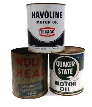 WOLF'S HEAD TEXACO QUAKER STATE CANS LOT