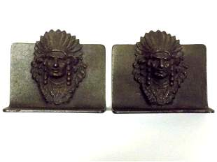 NATIVE AMERICAN INDIAN CHIEF BRONZED BOOKENDS