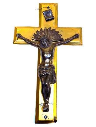 JESUS SILVERED BRONZE SCULPTURE CROSS