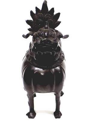 CHINESE BRONZE TEMPLE GUARDIAN FOO DOG CENSER