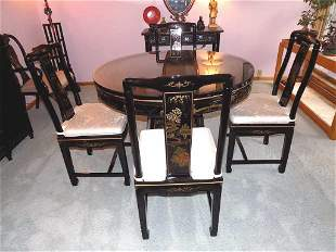 GORGEOUS CHINESE CHINOISERIE TABLE & CHAIR SET