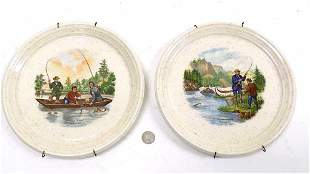 PAIR CURRIER & IVES SCENIC FISHING PLATES