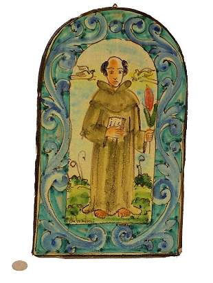 DUTCH FAIENCE SIGNED TABERNACLE PLAQUE