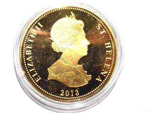 QUEEN ELIZABETH NAPOLEONIC WARS GOLD PLATED COIN