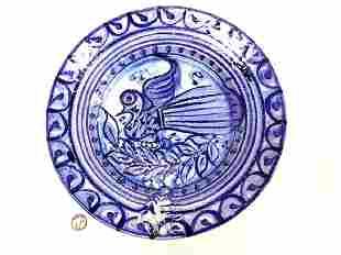 BLUE BIRD ART POTTERY SLIPWARE BOWL - SIGNED