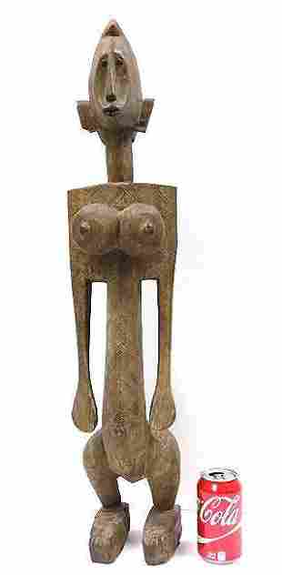 AFRICAN MALI BAMBARA CARVED FEMALE TRIBAL FIGURE