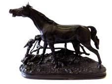 PJ MENE - CHEVAL A LA BARRIERE  BRONZE HORSE SCULPTURE
