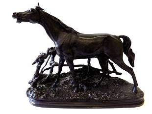 PJ MENE - GALIANT HORSE BRONZE SCULPTURE