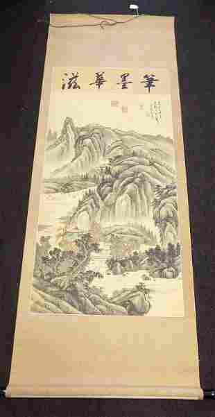 CHINESE MOUNTAINS SIGNED WATERCOLOR SCROLL