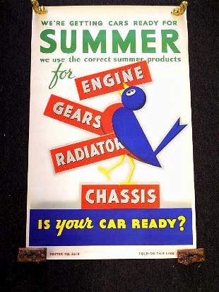 1950S MOBIL OIL SERVICE STATION ADVERTISING POSTER