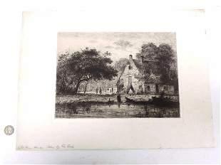 DE COCK - OLD FARM HOUSE 1864 ETCHING