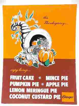 EBINGER THANKSGIVING STORE ADVERTISING POSTER