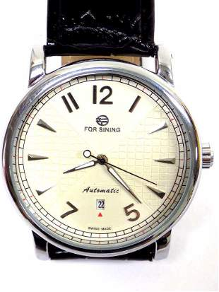 FOR SINING AUTOMATIC CHROME MEN'S WRISTWATCH