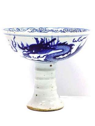 CHINESE DRAGON BLUE & WHITE FOOTED BOWL