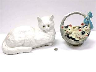 VINTAGE CERAMIC CAT SCULPTURES