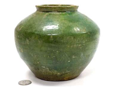CHINESE HAN DYNASTY GREEN POTTERY JAR