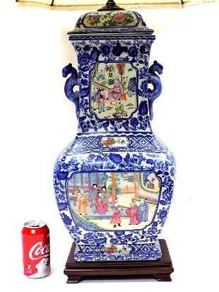 GRAND CHINESE ROSE MEDALLION PORCELAIN LAMP