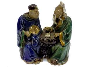 CHINESE SCHOLARS MUD MEN POTTERY GROUP